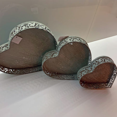 Distressed Heart Trays - set of three
